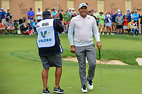Jhonattan Vegas (VEN) departs 16 after sinking his putt during round 3 of the Valero Texas Open, AT&amp;T Oaks Course, TPC San Antonio, San Antonio, Texas, USA. 4/22/2017.<br /> Picture: Golffile | Ken Murray<br /> <br /> <br /> All photo usage must carry mandatory copyright credit (&copy; Golffile | Ken Murray)