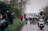peloton exiting the Holleweg (cobbles)<br /> <br /> 74th Omloop Het Nieuwsblad 2019 <br /> Gent to Ninove (BEL): 200km<br /> <br /> ©kramon