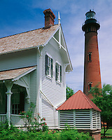 Cape Hatteras National Seashore, NC<br /> Currituck Beach Lighthouse (1875) and the Victorian style Keeper's House (1876) on the Outer Banks near Corolla, NC