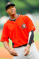 Second baseman Jonathan Schoop #46 of the Frederick Keys warms up in the outfield prior to the game against the Winston-Salem Dash at BB&T Ballpark on August 5, 2011 in Winston-Salem, North Carolina.  The Dash defeated the Keys 10-0.   Brian Westerholt / Four Seam Images
