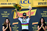 World Champion Peter Sagan (SVK) Bora-Hansgrohe wins Stage 2 of the 2018 Tour de France running 182.5km from Mouilleron-Saint-Germain to La Roche-sur-Yon, France. 8th July 2018. <br /> Picture: ASO/Alex Broadway | Cyclefile<br /> All photos usage must carry mandatory copyright credit (&copy; Cyclefile | ASO/Alex Broadway)