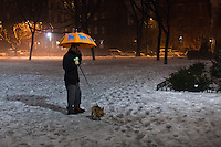 Jersey City, United States. 11th February 2013 -- A man walks with his dog during a foggy night at Jersey City in New Jersey. Photo by Eduardo Munoz Alvarez / VIEWpress.