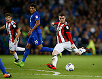 John Fleck of Sheffield Utd takes a shot on goal during the Championship match at the Cardiff City Stadium, Cardiff. Picture date: August 15th 2017. Picture credit should read: Simon Bellis/Sportimage