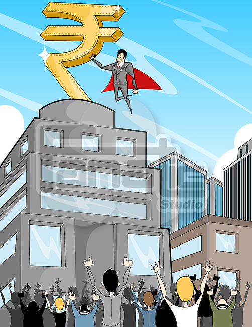 Business super hero with rupee symbol guiding people