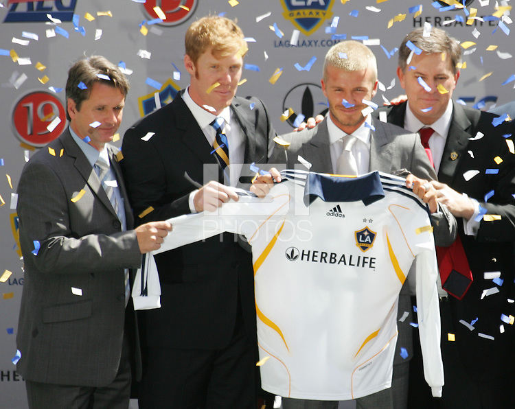 LA Galaxy (Left to Right) Head Coach Frank Yallop, President Alexi Lalas, David Beckham,   Owner Timothy Leiweke during the David Beckham, LA Galaxy press conference at the Home Depot Center in Carson, California, Friday, July 13, 2007.