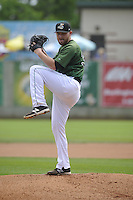 Clinton LumberKings starting pitcher Zack Littell (36) throws during the game against the Beloit Snappers at Ashford University Field on June 12, 2016 in Clinton, Iowa.  The LumberKings won 1-0.  (Dennis Hubbard/Four Seam Images)
