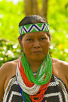 Embera Indian women in native costume at the Ellapuru village on the Chagres River, in Soberania National Park (near the Panama Canal), Panama