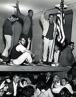 Student sit-in at Sproul Hall  at University of California at Berkeley Dec 2,1964. Students took over while demonstrating for Free Speech at the University..(1964 Photo by Ron Riesterer)
