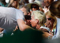 OIC - ENTSIMAGES.COM -   Judy Murray watches Andy Murray of Great Britain celebrates his win in the Gentlemen's Singles Final match against Novak Djokovic of Serbia of the Wimbledon Lawn Tennis Championships at the All England Lawn Tennis and Croquet Club 7th July 2013     Photo Ents Images/OIC 0203 174 1069