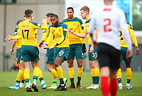 9th February 2020; Broadwood Stadium, Cumbernauld, North Lanarkshire, Scotland; Scottish Cup Football, Clyde versus Celtic; Olivier Ntcham of Celtic celebrates with Ryan Christie of Celtic after opening the scoring in the 16th minute