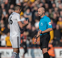 Wolverhampton Wanderers' skipper Conor Coady in discussion with referee Roger East<br /> <br /> Photographer David Horton/CameraSport<br /> <br /> The Premier League - Bournemouth v Wolverhampton Wanderers - Saturday 23 February 2019 - Vitality Stadium - Bournemouth<br /> <br /> World Copyright © 2019 CameraSport. All rights reserved. 43 Linden Ave. Countesthorpe. Leicester. England. LE8 5PG - Tel: +44 (0) 116 277 4147 - admin@camerasport.com - www.camerasport.com