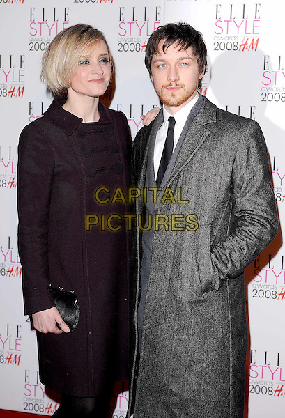 ANNE-MARIE DUFF & JAMES McAVOY.attending the Elle Style Awards 2008, The Westway, London, England,.12th February 2008..half length Anne MArie Ann married couple husband wife grey aubergine purple coat .CAP/BEL.?Tom Belcher/Capital Pictures
