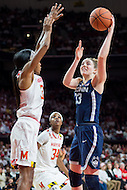 College Park, MD - DEC 29, 2016: Connecticut Huskies guard/forward Katie Lou Samuelson (33) shots a hook shot over Maryland Terrapins guard Shatori Walker-Kimbrough (32) during game between No. 1 UConn and the No. 3 Terrapins at the XFINITY Center in College Park, MD. UConn defeated Maryland 87-81. (Photo by Phil Peters/Media Images International)
