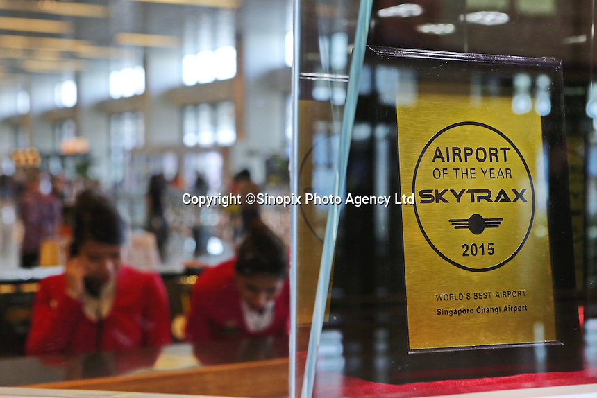 Changi Airport. Skytrax World's Best Airport of the Year Award 2015 displayed at Terminal 1 departure hall.