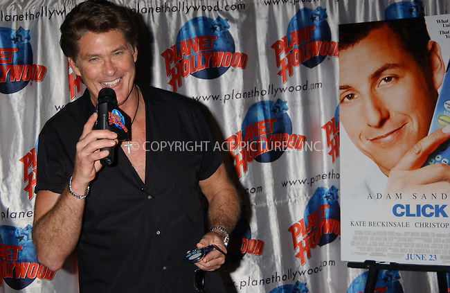 WWW.ACEPIXS.COM . . . . . ......June 20, 2006, New York City. ....David Hasselhoff appears at Planet Hollywood to promote his latest movie 'Click'. ....Please byline: KRISTIN CALLAHAN - ACEPIXS.COM.. . . . . . ..Ace Pictures, Inc:  ..(212) 243-8787 or (646) 769 0430..e-mail: info@acepixs.com..web: http://www.acepixs.com