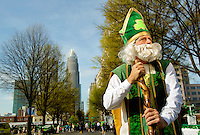 Photography of the Charlotte NC St. Patrick's Day Parade in March 2012. Image shows Mark Federal, with the Federal Clan, playing the role of St. Patrick. Photography is part of a series of St. Patrick's Day Parade photos in Charlotte, NC.
