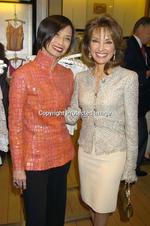 Josie Natori and Susan Lucci ..at a party at Saks Fifth Avenue hosted by  Josie Natori and ..Susan Lucci to help raise awareness and funds for Women in Need on April 28, 2005. Women in Need is an organization that serves women and children who are homeless and disadvantaged. A portion of the  sales from the Natori collection will go to Women in Need...Photo by Robin Platzer, Twin Images..