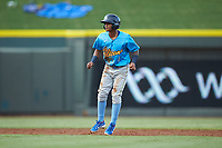 Yeiler Peguero (1) of the Myrtle Beach Pelicans takes his lead off of second base against the Winston-Salem Dash at BB&T Ballpark on August 6, 2018 in Winston-Salem, North Carolina. The Dash defeated the Pelicans 6-3. (Brian Westerholt/Four Seam Images)