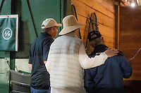 HALLANDALE, FL - JANUARY 27: Art Sherman looks into California Chrome Stall, at Gulfstream Park Race Course on January 27, 2017 in Hallandale Beach, Florida. (Photo by Douglas DeFelice/Eclipse Sportswire/Getty Images)