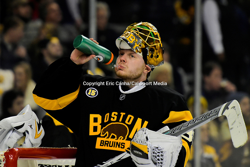 February 11, 2017: Boston Bruins goalie Anton Khudobin (35) waits for game action to resume during the National Hockey League game between the Vancouver Canucks and the Boston Bruins held at TD Garden, in Boston, Mass. Boston defeats Vancouver 4-3 in regulation time. Eric Canha/CSM