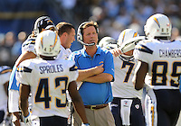 Sep. 20, 2009; San Diego, CA, USA; San Diego Chargers head coach Norv Turner reacts on the sidelines in the fourth quarter against the Baltimore Ravens at Qualcomm Stadium in San Diego. Baltimore defeated San Diego 31-26. Mandatory Credit: Mark J. Rebilas-