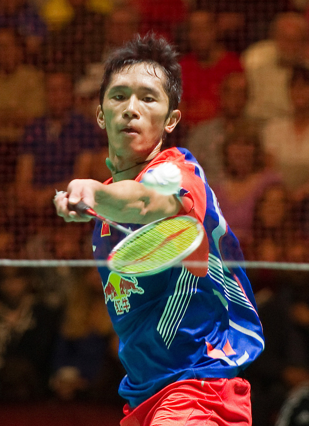 TIAN Houwei (CHN) in action today during his victory over Hans-Kristian VITTINGHUS (DEN) (2) in their Men's Finals match<br /> <br /> TIAN Houwei (CHN) def Hans-Kristian VITTINGHUS (DEN) 22-20, 21-16<br /> <br /> Photo by Ashley Western/CameraSport<br /> <br /> Badminton - Badminton World Federation Grand Prix Gold 2013 - Day 6 - Sunday 6th October 2013 - Copper Box Arena, Queen Elizabeth II Olympic Park, London<br /> <br /> &copy; CameraSport - 43 Linden Ave. Countesthorpe. Leicester. England. LE8 5PG - Tel: +44 (0) 116 277 4147 - admin@camerasport.com - www.camerasport.com
