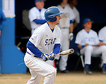 BROOKINGS, SD - APRIL 1:  Al Robbins from South Dakota State watches the ball after a base hit against Dakota Wesleyan during their home opener Wednesday afternoon in Brookings. (Photo by Dave Eggen/Inertia)