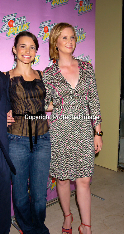 Kristin Davis and Cynthia Nixon ..at a screening of the new 7 UP PLUS Commercials, which..star Kelly Ripa, Regis Philbin, Kristin Davis and Cynthia Nixon on October 19, 2004 at the Great Jones Spa. ..Photo by Robin Platzer, Twin Images..