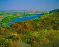 Autumn View of Missouri River & Bluffs, Missouri on the Opposite Bank, Indian Cave State Park, Lewis and Clark Trail, Nebraska