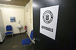 Edinburgh City v Spartans, 11/04/2015. Commonwealth Stadium, Scottish Lowland League. An view of the match officials room at the Commonwealth Stadium at Meadowbank before the Scottish Lowland League match between Edinburgh City and city rivals Spartans, which was won by the hosts by 2-0. Edinburgh City were the 2014-15 league champions and progressed to a play-off to decide whether there would be a club promoted to the Scottish League for the first time in its history. The Commonwealth Stadium hosted Scottish League matches between 1974-95 when Meadowbank Thistle played there. Photo by Colin McPherson.