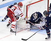 Joey Ferriss (UConn - 28), Jakob Forsbacka Karlsson (BU - 23), Rob Nichols (UConn - 31), Kyle Huson (UConn - 4) - The Boston University Terriers defeated the visiting University of Connecticut Huskies 4-2 (EN) on Saturday, October 24, 2015, at Agganis Arena in Boston, Massachusetts.