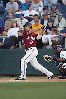 July 4, 2009: Yakima Bears infielder Brent Greer connects for his first professional home run during a Northwest League game against the Everett AquaSox at Everett Memorial Stadium in Everett, Washington.