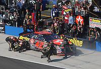 Apr 29, 2007; Talladega, AL, USA; Nascar Nextel Cup Series driver Juan Pablo Montoya (42) pits to repair damage after crashing during the Aarons 499 at Talladega Superspeedway. Mandatory Credit: Mark J. Rebilas