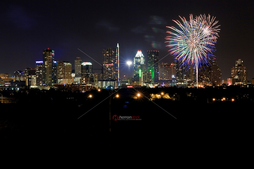 Independence Day Fireworks Display over Austin, Texas