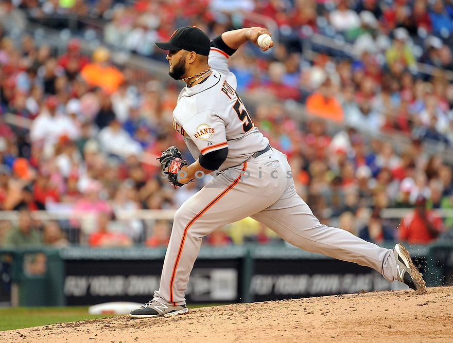San Francisco Giants Yusmeiro Petit (52) during a game against the Washington Nationals on August 24, 2014 at Nationals Park in Washington, DC. The Nationals beat the giants 6-2.