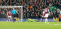 30th October 2019; Villa Park, Birmingham, Midlands, England; English Football League Cup, Carabao Cup, Aston Villa versus Wolverhampton Wanderers; Anwar El Ghazi of Aston Villa scoring past Wolverhampton Wanderers Goalkeeper John Ruddy 0-1 in the 28th minute - Strictly Editorial Use Only. No use with unauthorized audio, video, data, fixture lists, club/league logos or 'live' services. Online in-match use limited to 120 images, no video emulation. No use in betting, games or single club/league/player publications