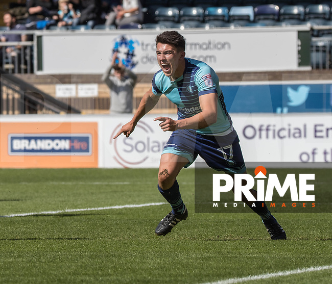 Luke O'Nien of Wycombe Wanderers celebrates the first goal during the Sky Bet League 2 match between Wycombe Wanderers and Doncaster Rovers at Adams Park, High Wycombe, England on 22 April 2017. Photo by Conor Molloy.
