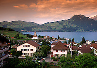 The Lucerne skyline at dusk. Switzerland.