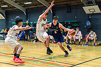 Action from the 2019 Schick AA Boys' Secondary Schools Basketball National Championship 9th place playoff between Auckland Grammar School and St John's College at the Central Energy Trust Arena in Palmerston North, New Zealand on Saturday, 5 October 2019. Photo: Dave Lintott / lintottphoto.co.nz