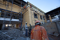 Construction workers at the expansion of The Junction, a major shopping center on Ngong road in Nairobi, Kenya.