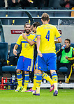 Solna 2014-10-12 Fotboll EM-kval , Sverige - Liechtenstein :  <br /> Sveriges Jimmy Durmaz gratuleras av lagkamrater efter sitt 2-0 m&aring;l<br /> (Photo: Kenta J&ouml;nsson) Keywords:  Sweden Sverige Friends Arena EM Kval EM-kval UEFA Euro European 2016 Qualifying Group Grupp G Liechtenstein jubel gl&auml;dje lycka glad happy