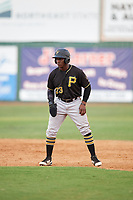Bristol Pirates pinch runner Yondry Contreras (23) leads off first base during a game against the Elizabethton Twins on July 29, 2018 at Joe O'Brien Field in Elizabethton, Tennessee.  Bristol defeated Elizabethton 7-4.  (Mike Janes/Four Seam Images)