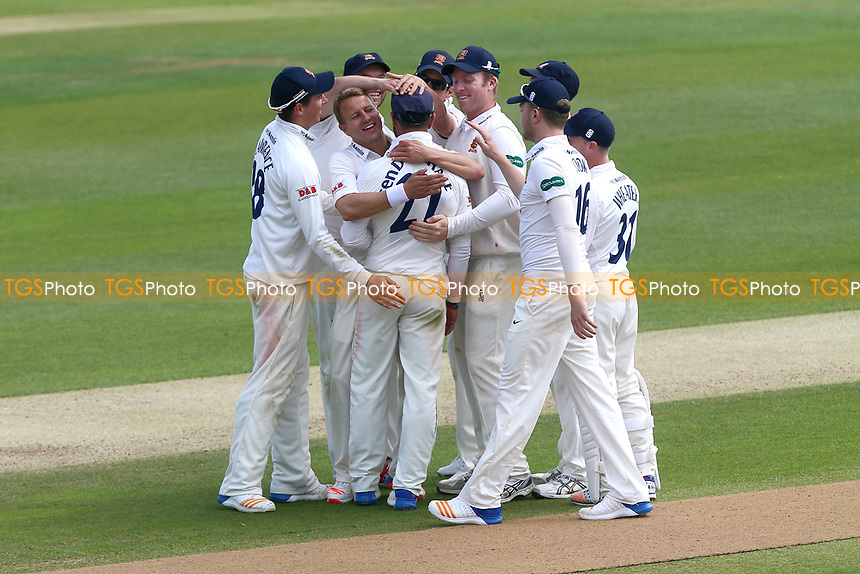 Essex players celebrate the run out of Kyle Abbott from a throw by Ryan ten Doeschate during Essex CCC vs Hampshire CCC, Specsavers County Championship Division 1 Cricket at The Cloudfm County Ground on 21st May 2017