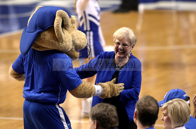 UK mascot Scratch dances with a UK fan during the first half of the University of Kentucky men's basketball game vs. Eastern Kentucky University at Rupp Arena in Lexington, Ky., on Sunday, December 7, 2014. UK won 82 - 49. Photo by Tessa Lighty | Staff