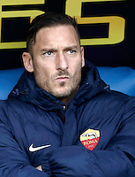 Calcio, Serie A: Lazio vs Roma. Roma, stadio Olimpico, 4 dicembre 2016.<br /> Roma&rsquo;s Francesco Totti waits for the start of the Italian Serie A football match between Lazio and Rome at Rome's Olympic stadium, 4 December 2016. Roma won 2-0.<br /> UPDATE IMAGES PRESS/Isabella Bonotto