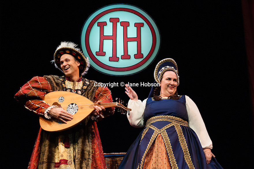 """London, UK. 06.06.2012. The Birmingham Stage Company presents """"Horrible Histories"""" at the Garrick Theatre, London, UK. Picture shows: Neal Foster (as Rex) and Alison Fitzjohn (as Queenie). Photography by Jane Hobson."""