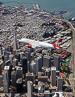 aerial photograph of N628VA, Virgin America Airlines Airbus A320-214 over San Francisco, California