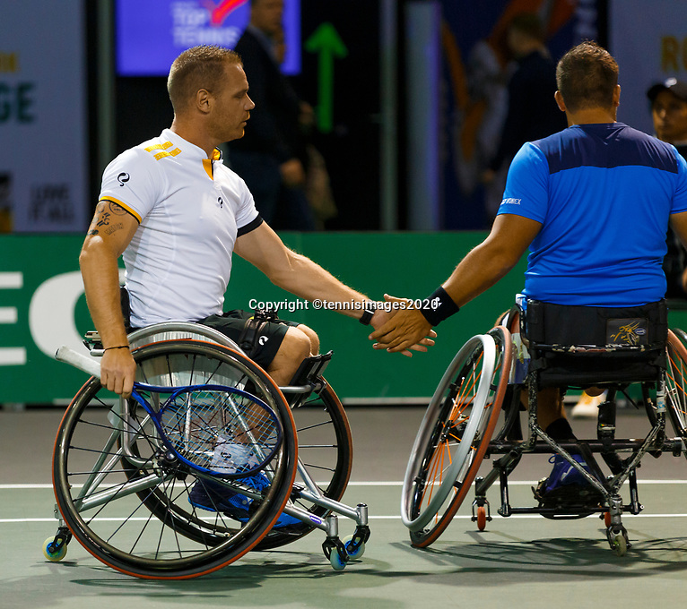 Rotterdam, The Netherlands, 9 Februari 2020, ABNAMRO World Tennis Tournament, Ahoy, Wheelchair: Tom Egberink (NED) and Maikel Scheffers (NED).<br /> Photo: www.tennisimages.com
