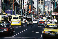 A busy street in Auckland,  New Zealand 1980,