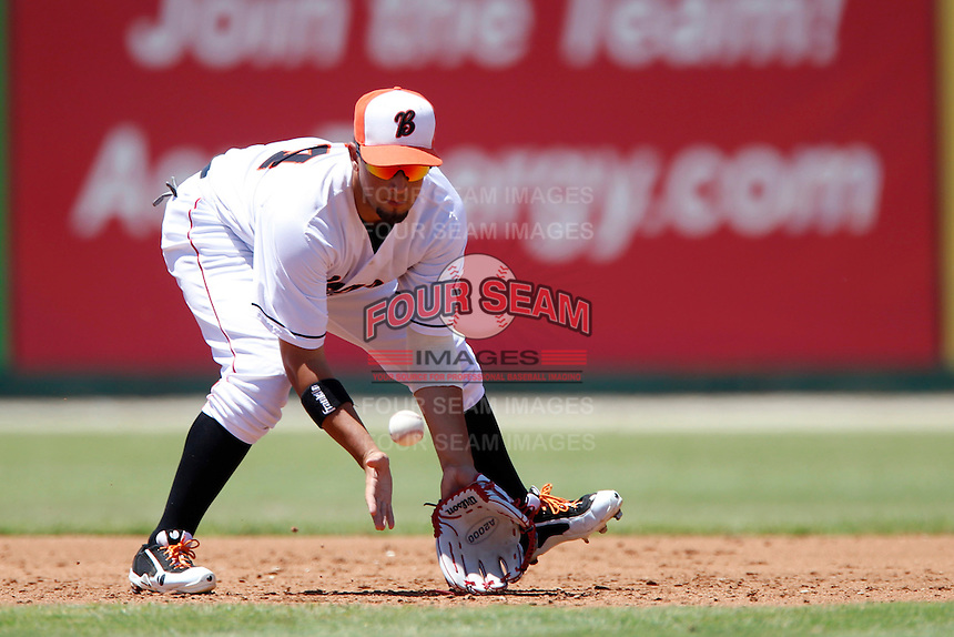 David Vidal #24 of the Bakersfield Blaze during a game against the San Jose Giants at Sam Lynn Ballpark on August 4, 2013 in Bakersfield, California. San Jose defeated Bakersfield, 7-4. (Larry Goren/Four Seam Images)